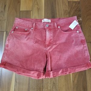 Gap red wash denim roll hem shorts